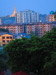 The 5am view from our apartment in Yangon.  Shwedagon Pagoda in the background.