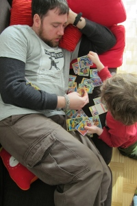 Bonding over old Marvel trading cards.